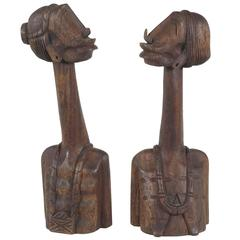 Pair of Figurative Carved Wood Sculptures