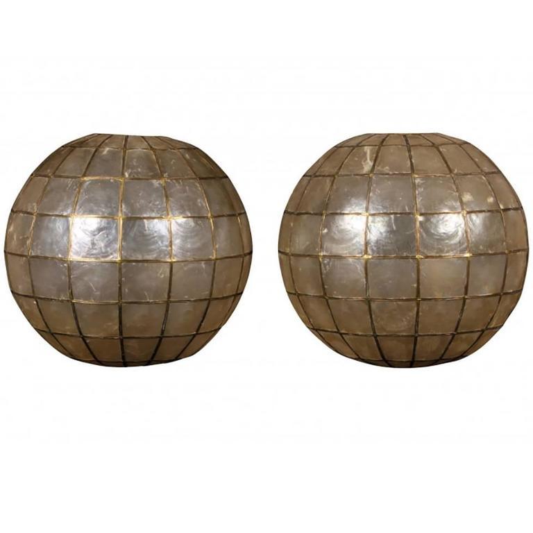 classic mid century capiz shell globe pair at 1stdibs. Black Bedroom Furniture Sets. Home Design Ideas