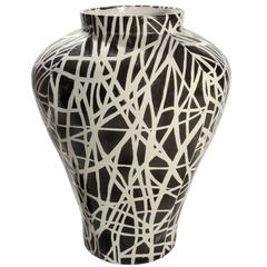 Jan Hendrix Black and White Ceramic Vase