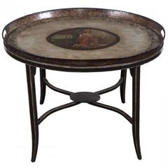 Antique Handprinted Tole Tray Table, circa 1830-1840