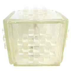 Sculptural Italian Glass Cube Lamp by Poliarte