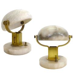 Carved Stone and Brass Table Lamps