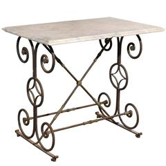 Early 19th Century French Iron Butcher Table with Marble Top