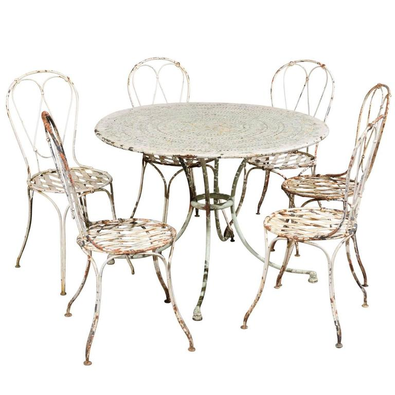 19th Century Iron Painted Garden Chairs and Table, circa 1880