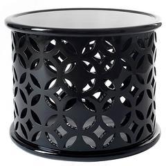 European Modern Boco Do Lobo Black Cut-Out Round Stone Coffee, Center, End Table