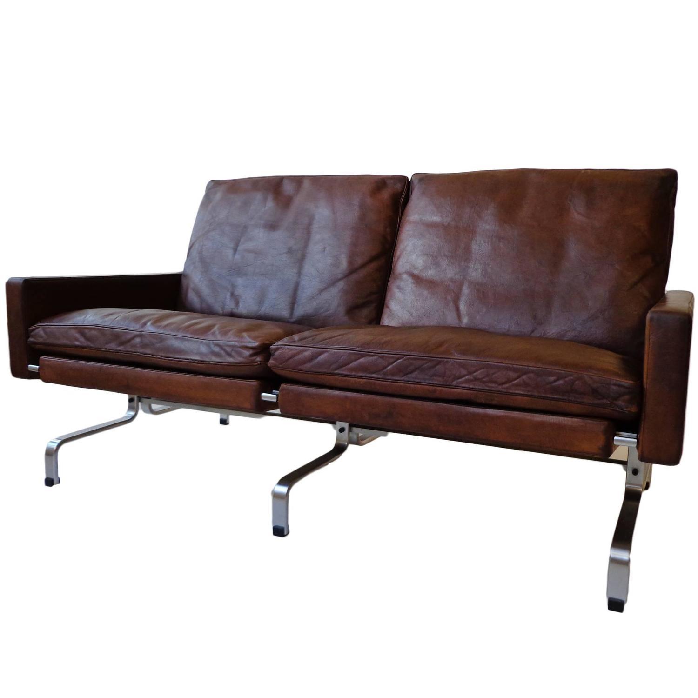 PK31 White Leather Sofa by Poul Kj¦rholm for Fritz Hansen For Sale