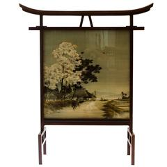 A Rare Anglo-Japanese Fire Screen designed by E W Godwin With Kissing Birds Silk