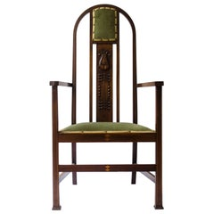 Liberty and Co attri, A Pair of Arts and Crafts mahogany and Inlaid Armchair