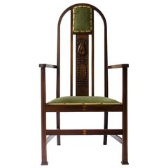 Liberty and Co attri, An Arts and Crafts mahogany and Inlaid Armchair