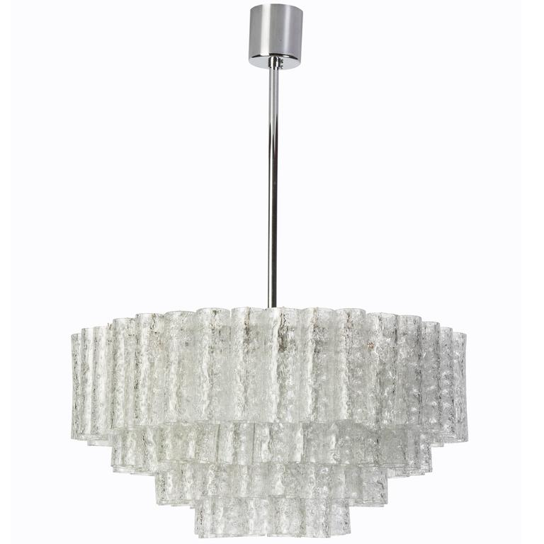 Exceptional German Multi-Tiered Glass Tube Chandelier by Doria For Sale