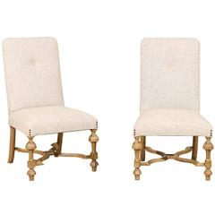 Pair of Italian Late 19th Century Side Chairs with X-Shaped Cross Stretchers