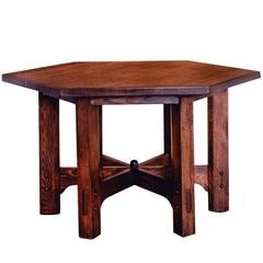 Hexagonal Oak Library Table