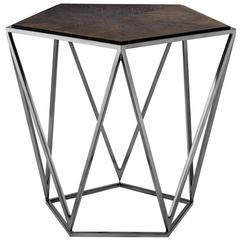 Pentagon Side Table with Charcoal Oak Top and Black Nickel Finish