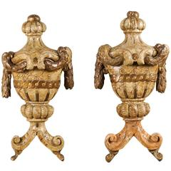 Pair of Wood Wall Hanging Architectural Fragment Ornaments Representing Urns