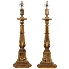 Italian 19th Century Wood Candlesticks Made into Table Lamps with Floral Motifs