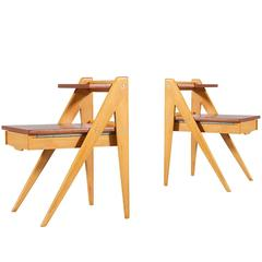 Rare Yngve Ekström Two-Tier Side Tables with Drawers