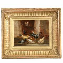 Barnyard Painting of Chickens, Peacock and Ducks by Claude Guilleminet