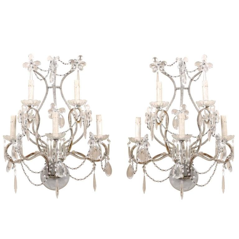 Pair of Crystal Five-Light Sconces from the Mid-20th Century with Flower Motifs For Sale
