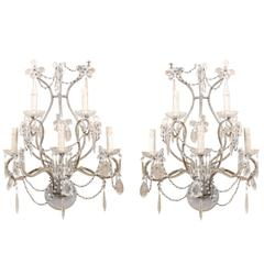Pair of Crystal Five-Light Sconces from the Mid-20th Century with Flower Motifs