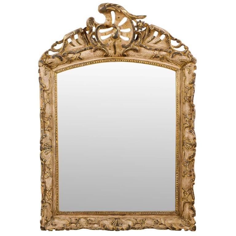 Italian Early 19th Century Rococo Style Mirror with Painting and Gilding