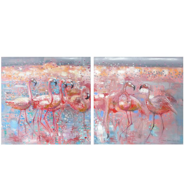 Contemporary Flamingos Diptych Oil on Canvas by Daria Tichenko-Zunavel