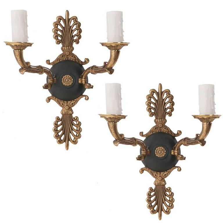 Pair of French 19th Century Brass Empire Sconces