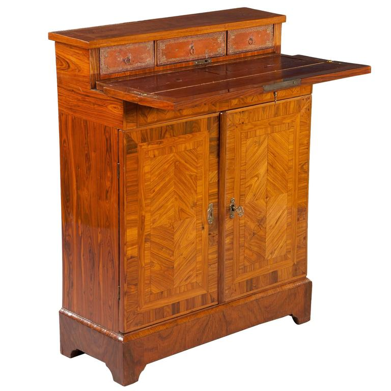 Parquetry Kingwood Secretaire Cabinet Cupboard Shallow Narrow Depth For