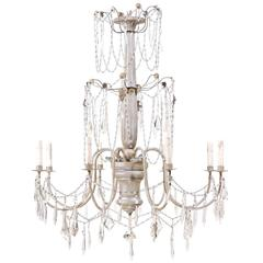 Italian Eight-Light Wood, Crystal and Metal Painted Silver Three Tier Chandelier