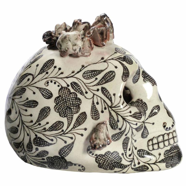 Blank and White Talavera Ceramic Mexican Skull