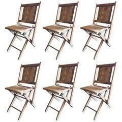Set of Six Wood Folding Chairs