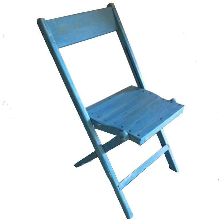 Blue Wooden Folding Chair at 1stdibs