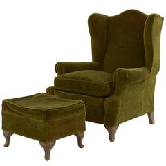 Vintage Wing Chair and Ottoman