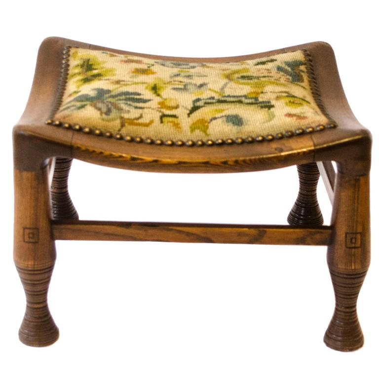 Rare Early Arts and Crafts Oak Liberty and Co Thebes Stool