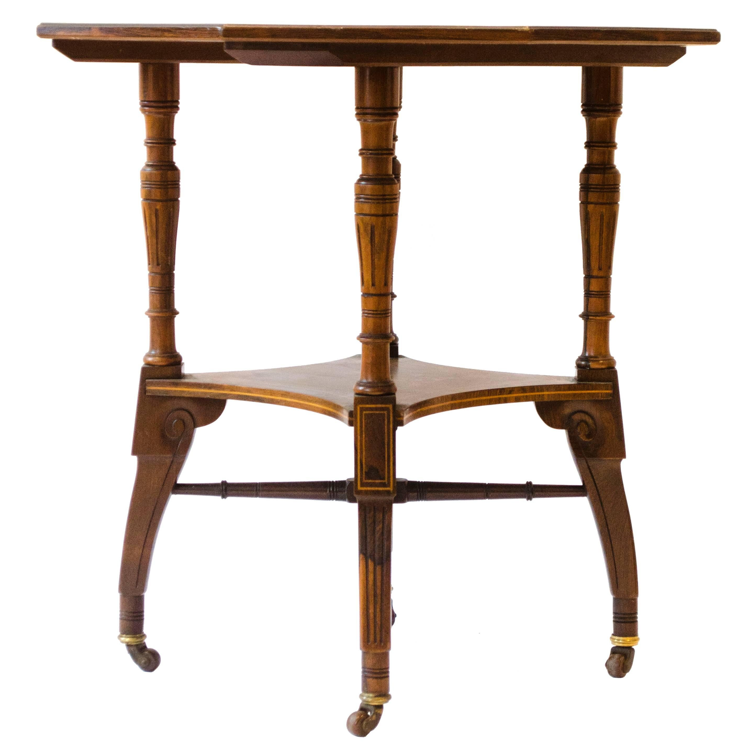 Jas Shoolbred. An Aesthetic Movement Octagonal Rosewood & Inlaid Side Table