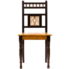 Bruce Talbert. Aesthetic Movement Hall Chair with Minton's tile by Dr C Dresser