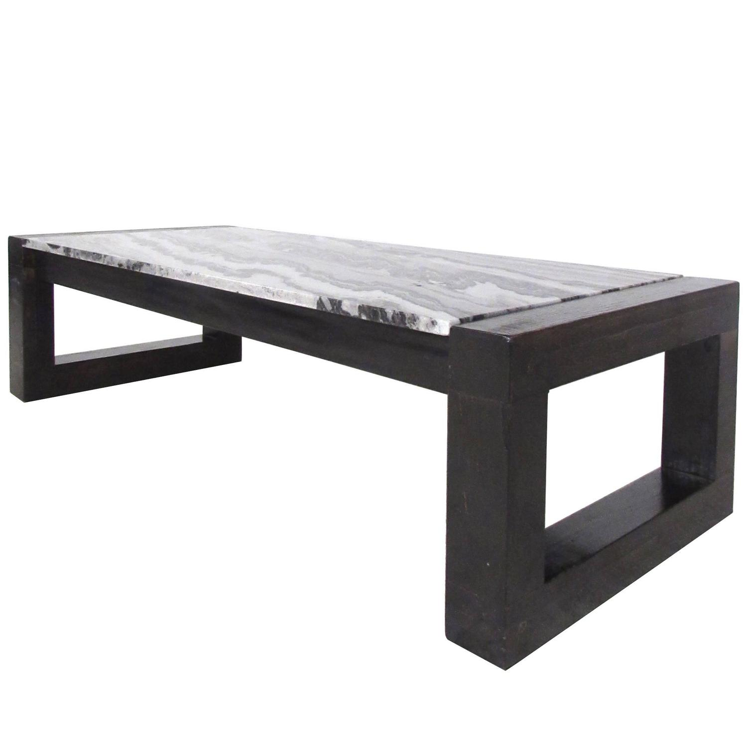 Contemporary Modern Marble Top Cocktail Table For Sale At 1stdibs