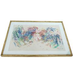 "Samuel Reindorf Watercolor, ""Round One (Cockfight)"""
