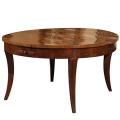 19th Century Italian Large Walnut Round Dining Table/Center Table