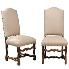 Set of Eight French Louis XIV Style Upholstered Back Dining Chairs