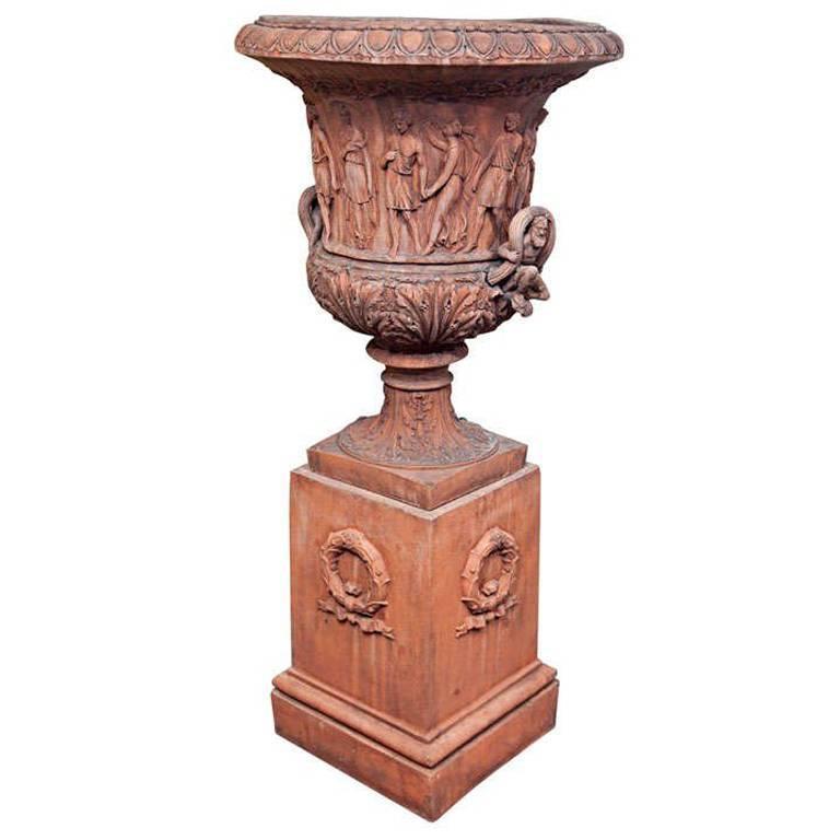 Large Terra Cotta Urn on Pedestal