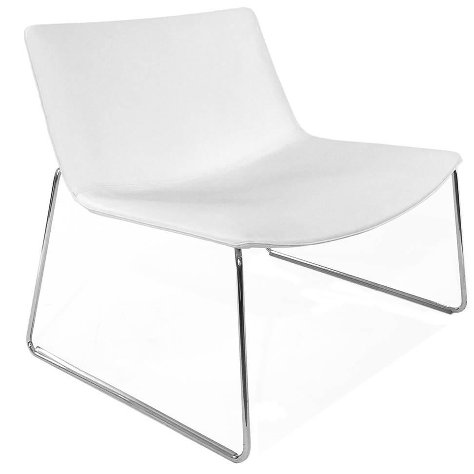 White leather catifa 80 sled lounge by lievore altherr for 80s lounge chair