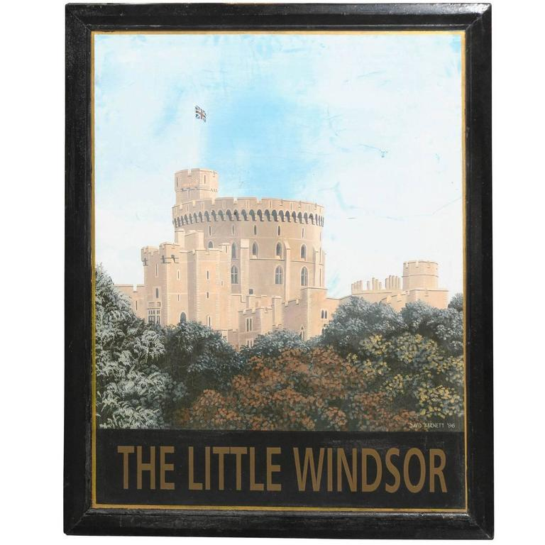 English Painted Tin Pub Sign Featuring Windsor Castle, circa 1900