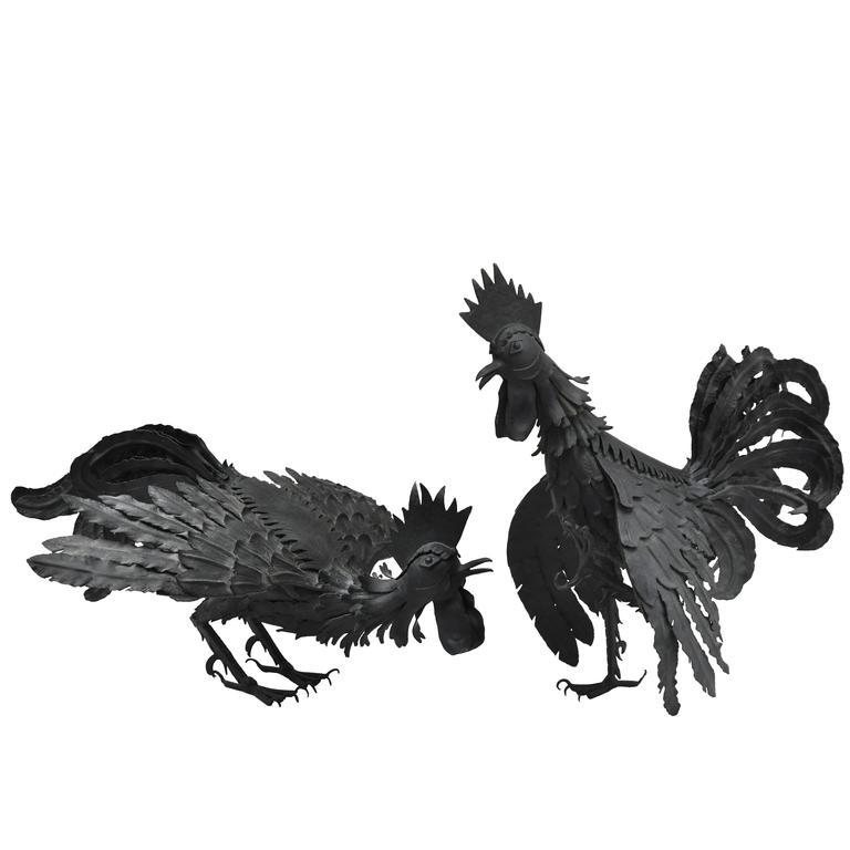 Pair of Black Metal Roosters For Sale