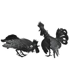 Pair of Black Metal Roosters