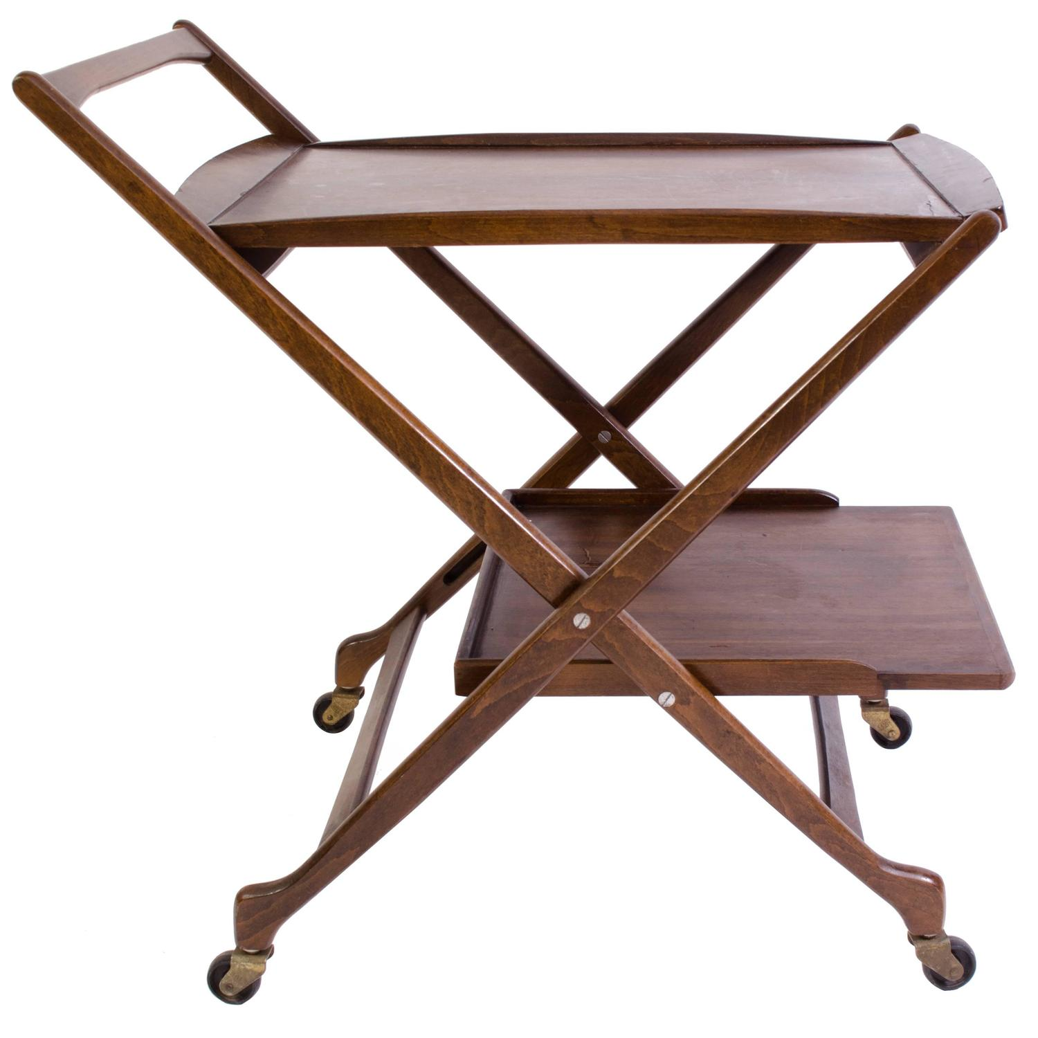 Danish Folding Walnut Bar Cart with Serving Tray For Sale at 1stdibs
