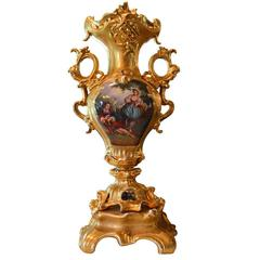 Antique Hand-Painted and Gilded Large Vase