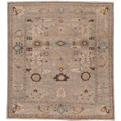 21st Cent. Modern Tan, Blue Persian Sultanabad Rug