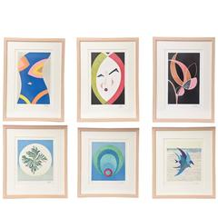 """Six Signed & Custom Framed Pucci Colored Lithographs """"The Art of Emilio Pucci"""""""