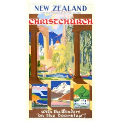 """1930s New Zealand Travel Poster """"Playground of the Pacific Christchurch"""""""