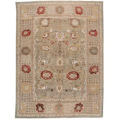 21st Century Modern Tan, Red Persian Sultanabad Rug